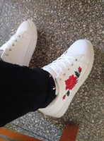 Wholesale Female Joker - Spring & Autumn women's hand embroidery rose white shoes female flat leisure joker sneakers new fashion flower for women's shoes wholesale