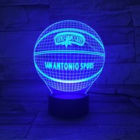 Wholesale Novelty D Lamps Basketball Spurs LED Night Light Creative craft Lamp Colors Changing Touch Switch Indoor Decorative Luminaria