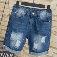 Wholesale Torn Jeans Women Plus Size - Wholesale- Lguc.H Fat MM Large Size Ripped Jeans Shorts Women Elastic Denim Shorts Plus Size for 100kg Stretch Torn Hole Jeans Shorts 5XL