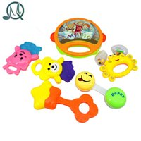 Wholesale Funny Baby Rattles - Wholesale- MQ 6pcs set Kids Funny Bed Toys Baby Rattles Plastic Hand Shake Bell Ring Children Early Learning Educational Toys