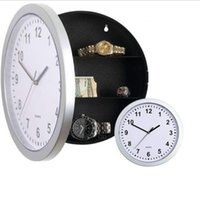 Wholesale Mechanical Safe Box - Wholesale- Modern Design Mechanical Clock Safe Storage Box Clock Plastic Jewelry Money Hidden Secret Stash Safe Box Wall Desk Clock