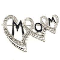 Wholesale Wholesale Mom Pin - Triple Hearts Mom Pin rhinestone Brooch  Mom rhinestone Brooch  Triple Hearts rhinestone broach