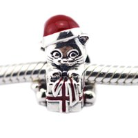 Wholesale Berry Bracelet - Christmas Kitten Berry Red Enamel With Present Bead Fits Pandora Bracelet & Necklace DIY Original 925 Silver Jewelry For Woman Wholeasle