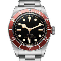 original watch case - 2017 Tud Mens Luxury Sports Watch Red Case Stainless Steel Original Strap Black Face Date Sweep Automatic Mechanical Men watches