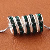 Wholesale European Rhinestone Spacers - Free Shipping 10mm Dark Green Rhinestone Loose Spacer Charm European Beads Fit Craft Bracelets