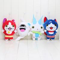 Wholesale Doll Watches - 4pcs Set 20CM Kawaii Yokai Watch Doll Figure Jibanyan Komasan and Whisper Plush Toys Stuffed Dolls