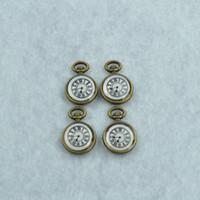 antiguo reloj de los encantos de bronce al por mayor-Al por mayor-DIY accesorios de joyería al por mayor 30 unids / lote metal antiguo esmalte de bronce encantos flotantes reloj colgante Z42296