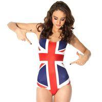 bayrak mayoları toptan satış-İngiltere bayrağı bikini tek parça İNGILTERE bayrağı mayo Siyah süt yüzmek aşınma Su sporları mayo Kadın mayo