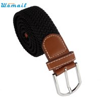 Wholesale Braided Black Belt Men - Wholesale- Womail Hot Selling 1pc Men Leather Braided Elastic Stretch Metal Buckle Belt Waistband