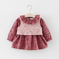 Wholesale Dress Set Girls Heart - Little Girls Leaves Dresses+Heart Vest Outfits 2017 Fall Kids Boutique Clothing 1-4T Girls Long Sleeves Dresses with Waistcoat 2 PC Set