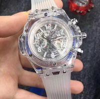 Wholesale Mens Silicone Luxury Watch - New Fashion Luxury Swiss brand men's Sports Watches Transparent Clock Quartz Military Watch All Work Mens Wristwatch Stopwatch Drop Shipping