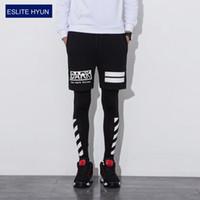 Wholesale Slimming Dance Pants - 2017 NEW Compression Pants Dance Hip Hop Sweatpants Mens Fashion Elastic Waist Tight Leggings Print Fake Two Leggings