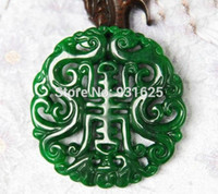 Wholesale Burma Necklace - Genuine natural Burma jade dry green Lucky jadeite Pendant Full green Jade Carved Dragon Amulet Pendants Necklace