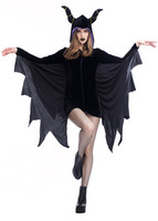 Wholesale sexy bat women costume online - Halloween Cosplay Black Angel Costumes sexy Evil bat Dress Vampire Queen party performance Masque show Clothes PS005