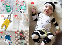 Wholesale Newborn Clothing Hats - 2018 New Spring Kids Clothing Sets INS Boys Clothing Girls Outfits Long Sleeve house printed Rompers + Hats 2pcs Baby Suits Newborn Pajamas