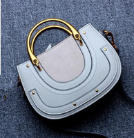 Wholesale Open Metal Ring - new women handbags chic vintage classic metal circle ring saddle bag small single shoulder crossbody bags for female