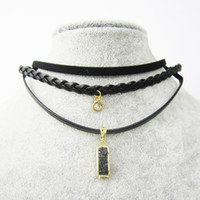 Wholesale Leather Braided Necklace Gold - Vintage Elegant Necklace Set Black Braided Choker Smooth Leather Choker Suede Choker Alloy Pendants Women Gifts