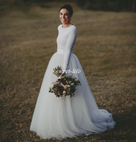 Wholesale Jersey Formal Gowns - Elegant Long Sleeve Country Wedding Dresses Ivory Two Piece Formal Bridal Dress Jersey and Long Tulle Wedding Gowns Simple But Modern 2017