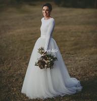 elegantes reizvolles langes kleid jersey großhandel-Elegante Langarm Land Brautkleider Elfenbein zweiteilige formale Brautkleid Jersey und lange Tüll Brautkleider einfach, aber modern 2017