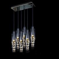 contador de lámpara de vidrio al por mayor-Lujo moderno de Alta Potencia LED Comedor Lámparas Colgantes Florero de Cristal Botellas Luz Cristal Flores Dentro de la Barra de Bar Restaurante Luz Colgante