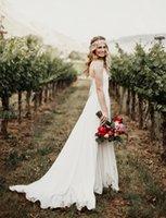 Wholesale Vneck Sleeveless Line Dress - 2017 Vintage Spaghetti Beach Bohemian Wedding Dresses A Line Sexy Vneck Elegant Lace Bridal Gowns Boho Cheap Simple Sweep Train Wedding Gown