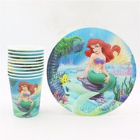Wholesale 20pcs the little mermaid design disposable cups plates set cartoon girls birthday decoration tableware set for kids