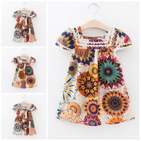 Wholesale Ethnic Print Skirts - Girls Dress Princess Dresses 2017 Summer Baby Clothes One-Piece Dress Heronsbill Ethnic Style Lace Printed Skirt Kids Clothing X5
