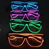 Wholesale christmas sunglasses lights - Colourful Sunglasses For Christmas Gift Concert Cheer Props Carnival Festival Party Articles EL Wire LED Light Glasses 18cf C R