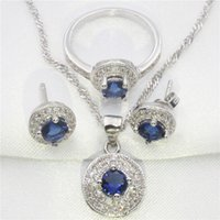 Wholesale Blue Sapphire Ring 925 Silver - Romantic blue sapphire, white topaz round 925 sterling silver jewelry set women earrings, pendant, necklace, ring free gift
