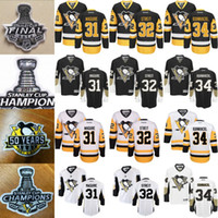 Wholesale 34 Cup - Mens Pittsburgh Penguins Jerseys 31 Sean Maguire 32 Mark Streit 34 Tom Kuhnhackl With 50 Years Patch 2016 2017 Stanley Cup Champions Patch