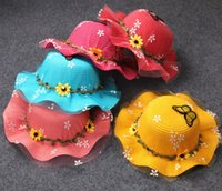 Wholesale Tie Fit Baby - Children Summer Sunhats New Flowers Straw Sun Hats for Baby kids Girls Beach UV Hats with Wide Brim