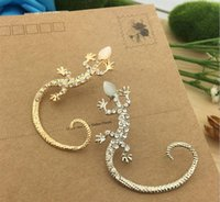 Wholesale Insert Stud Earrings - Pop lizard stud earrings ears hang bright drill rose gold exaggerated gecko lizards alloy insert artificial stones semi-precious stones hot