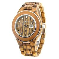 Wholesale Wood Man Japan - BEWELL Wood Watch Men Japan Quartz Movement With Calendar Display Lightweight Men's Watches W100AG Zebra Wood