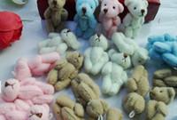 boneca de casamento mini venda por atacado-Atacado-10PCS Mini 3,5 centímetros Joint Teddy Bear Plush Stuffed TOY DOLL; Buquê de casamento Candy BOX TOY DOLL Garment Acessórios para o cabelo TOY DOLL