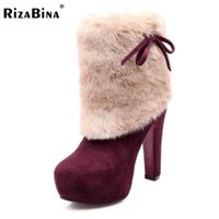 Wholesale heels boots size 32 - Wholesale-women high heel half short boots party winter botas fashion round toe cotton warm footwear boot shoes P19959 size 32-43