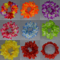 Wholesale luau flowers for sale - Group buy New HAWAIIAN LEIS HULA FLOWER LUAU GARLAND LEI FLOWER HEADBAND GARLAND BIRTHDAY PARTY SUPPLIES WEDDING FAVORS