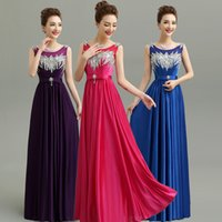 Wholesale Dress Crystal Colour - 2017 New Shining Sequins Bridesmaids Dresses With Crystals 9 Colours Sheer Neck Lace Up Back Formal Dresses Long Cheap Bridesmaid Dress