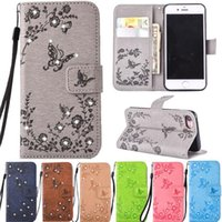 Bling Strass Diamant Schmetterling Flip PU Leder Geldbörse Fall für iPhone 5S SE 6 6S 7 8 Plus X Samsung S5 S6 S7 Edge S8 Hinweis Note8