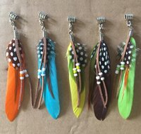 Wholesale Dangling Hair Accessories - Tribal Festival Hippy Feather Dangle Hair Braid Dread Bead 5mm of Hole Hair Accessories Hair Jewelry Hair BeadsHandmade