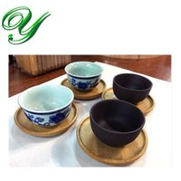 Wholesale Chinese Tea Tray Wood - Wooden Round Coaster Set mini teacup holder stand Square Tea Saucer Plate Chinese kungfu tea cup sets serving tray tea ceremony accessories