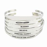 braceletes inspirados para homens venda por atacado-Nova Moda Em Aço Inoxidável Bar Gravado Positivo Citações Inspiradas Cuff Mantra Pulseira Bangle Para Homens Melhores Presentes
