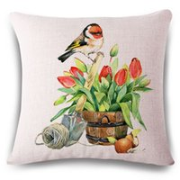 Wholesale Pillow Covers Country - birds cushion cover tulip flower almofadas nordic capa de almofada decorative country throw pillow case for sofa chair cojines