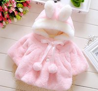 Wholesale Pink Lolita Coat - Baby Infant Girls Fur Winter Warm Coat Cloak Jacket Thick Warm Clothes Baby Girl Cute Hooded Long Sleeve Coats Free Shipping