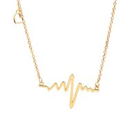 Wholesale Gold Plated 18 Inch Chains - 18k Gold Plated Titanium Steel Heartbeat Love Cardiogram ECG Pendant Necklace 18 Inch Silver Choker Clavicle Chain