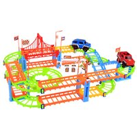 Wholesale Kids Rail Cars - New Arrival Erencook Electronic Racing Car track Kids Toy Childrens Game Boys Xmas Gift Rail Building Block Toy