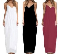 Wholesale Casual Linen Maxi Dresses - Summer Boho Sleeveless spaghetti strap women Maxi Dress loose elegant sexy casual Black white red beach dresses Summer new sling dress