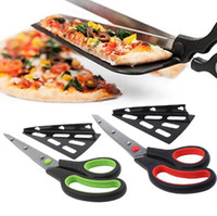 Trancheuse À Pizza En Acier Inoxydable Pas Cher-Pizza Scissors Cutter Tray Slicer Divider Pizza en acier inoxydable Shovel Scissors Pancake Cutter Spatula Pizza Baking Tools OOA1859