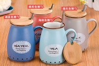 Wholesale Tumbler China - Wholesale- Creative Milk Mug Cute Big Belly Cup Tumbler Office Bone china Bottle Mugs With Lid and Stainless steel spoon
