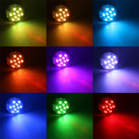 Barato Projectores Led Submersíveis-Novo Controle Remoto Subaquático Sem Fio Led Multi Color Spotlight Multi Color Submersível 10LED Light Waterproof Party Lamp