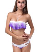 sıcak bikini saçak toptan satış-Sıcak kadın Degrade renk püsküller Bikini Mayo Katı Ombre Saçak Kayışı Halter Yastıklı Kız Lady Yüzme Mayo mayo